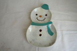 画像1: ノルディックデコ クリスマスプレート スノーマン L