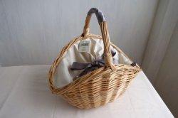 画像1: 柳 かごバッグ リボン巻き持ち手 ワンハンドル ベージュ